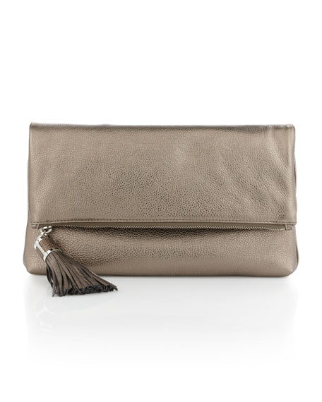 Large Tonne Metallic Foldover Clutch Bag