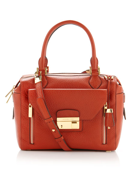 Gia Pebbled-Leather Top-Zip Satchel