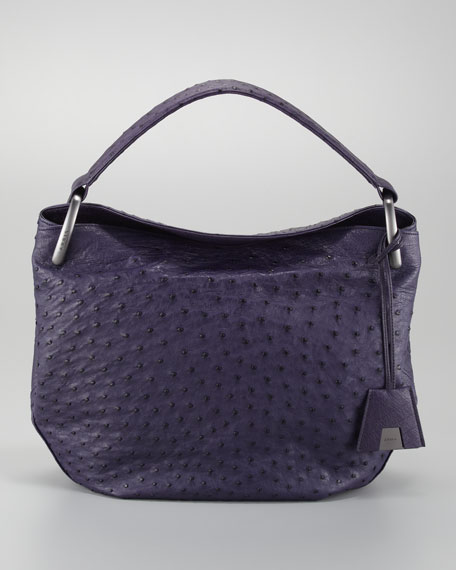 Allegra Ostrich Medium Hobo Bag, Purple