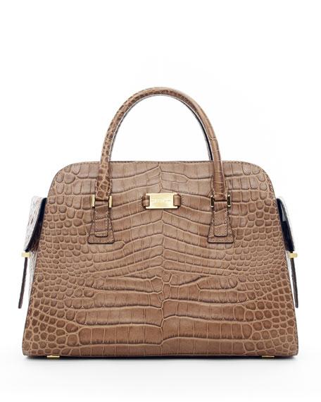 Gia Crocodile-Embossed Satchel Bag
