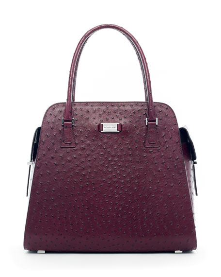 Gia Ostrich-Embossed Satchel Bag