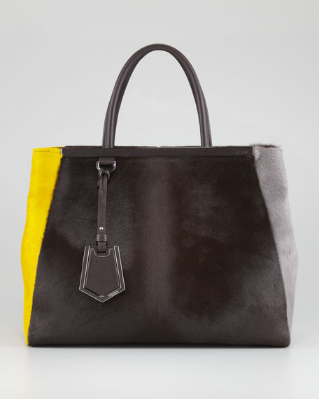 2Jours Calf Hair Tote Bag, Brown/Yellow/Iron