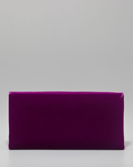 TF Flat Velvet Clutch Bag, Violet