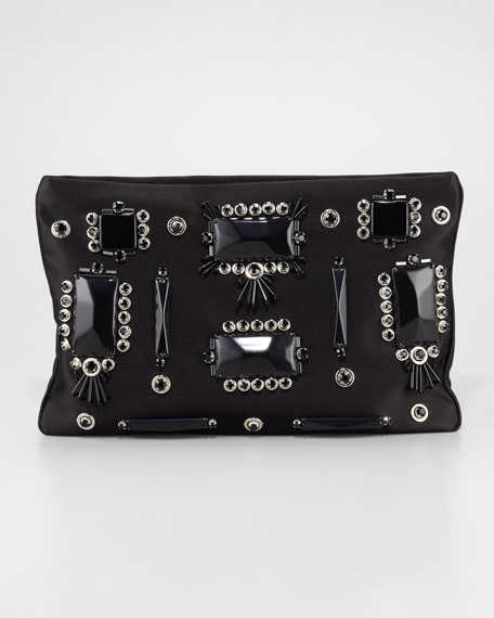 Raso Ricamo Flat Clutch Bag, Black