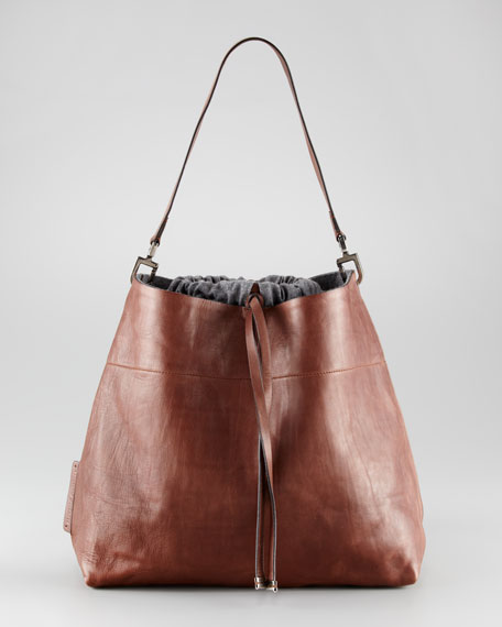 Flannel Lined Calfskin Bucket Bag