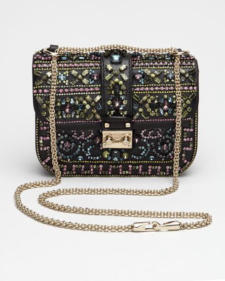 Crystal-Covered Glam Lock Crossbody Bag