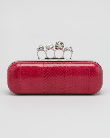 Knuckle-Duster Snakeskin Box Clutch Bag, Dark Pink