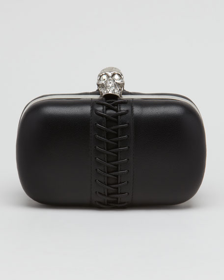 Lace-Up Leather Skull-Clasp Clutch Bag