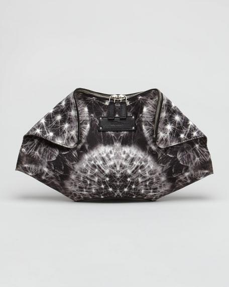 Dandelion-Printed Leather De-Manta Clutch Bag