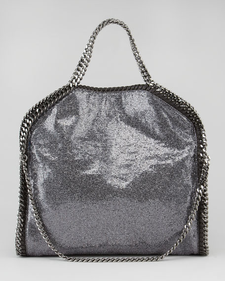 Fold-Over Falabella Tote Bag, Pewter