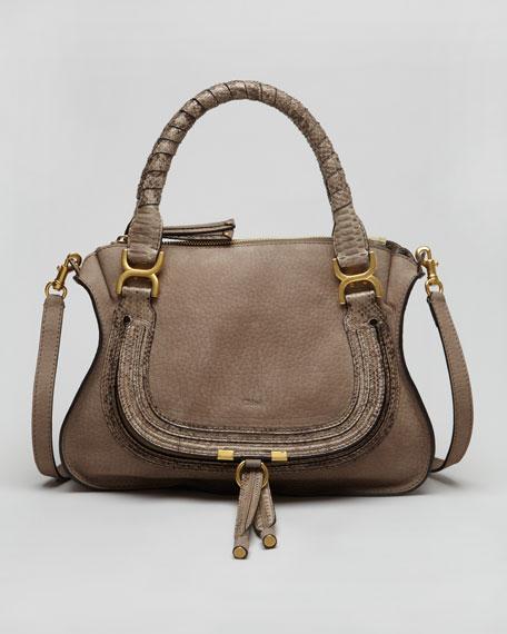 Python-Trimmed Marcie Shoulder Bag