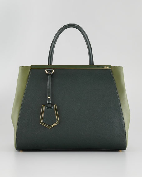 2Jours Calfskin Tote Bag, Forest Green