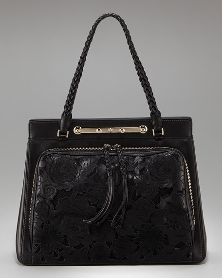 Demetra Napa Leather and Net Lace Satchel