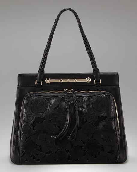 Demetra Napa Leather and Net Lace Satchel