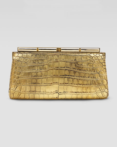 Aurelie Croc Clutch Bag