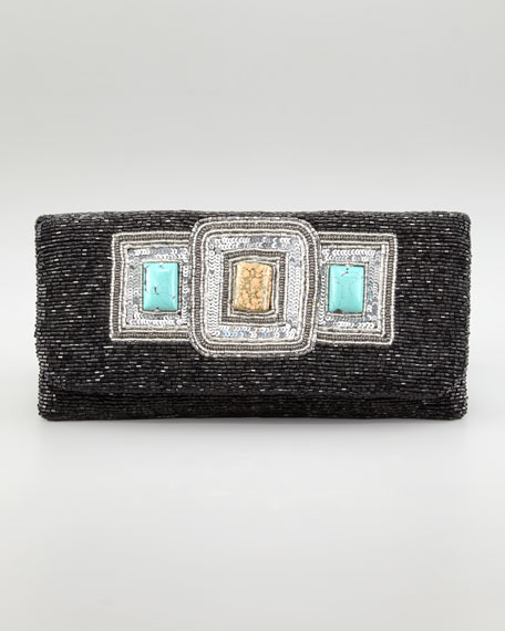 Stone-Detailed Beaded Clutch Bag