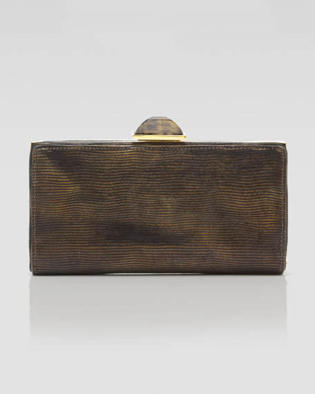 Carrie Lizard-Embossed Clutch Bag