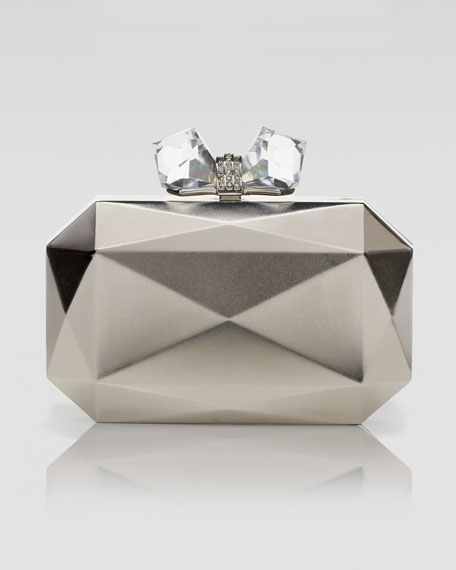 Danielle-Faceted Rectangle Metal Clutch Bag