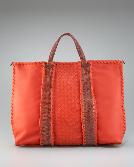 Leather & Snakeskin Tote