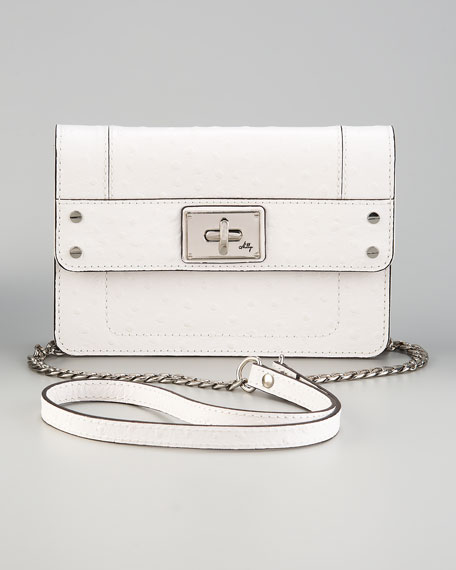 Ostrich-Embossed Mini Mina Bag