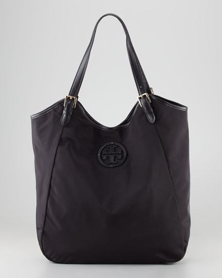 Stacked Logo Slouchy Nylon Tote Bag, Black