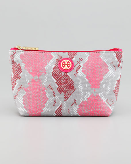 Snake-Printed Small Slouchy Cosmetic Bag, Carnation