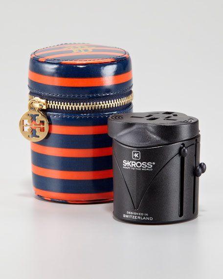 Monogram-Print Travel Adapter, Tory Navy/Blood Orange