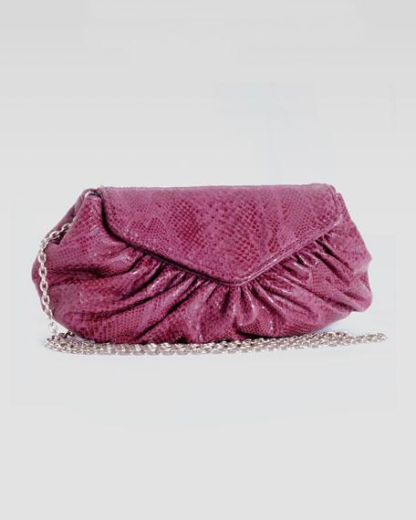 Diana Glossy Python-Print Clutch Bag