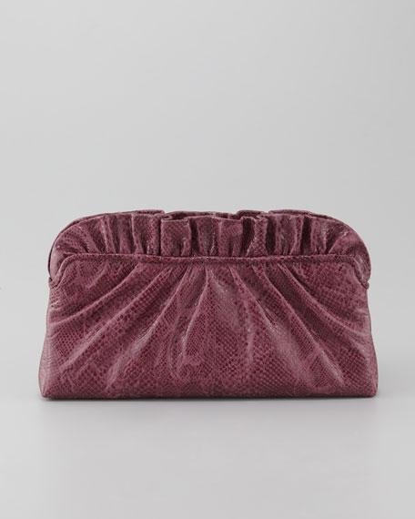 Georgie Glossy Python-Embossed Clutch Bag