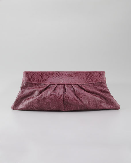 Louise Glossy Python Clutch Bag, Ruby