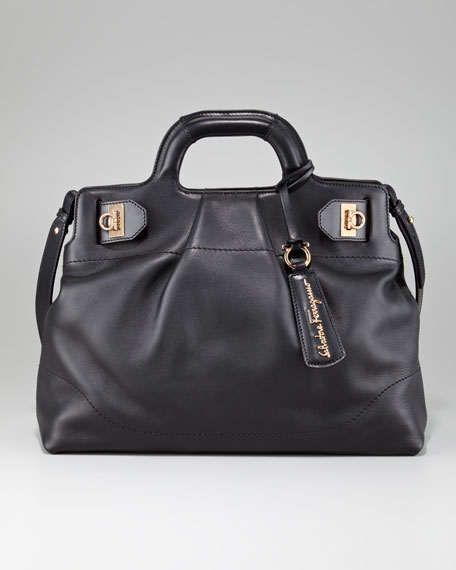 W Soft Leather Satchel Bag, Black
