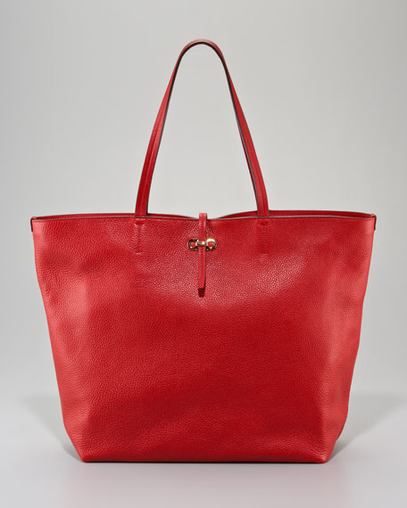 Gina Leather Tote Bag, Red