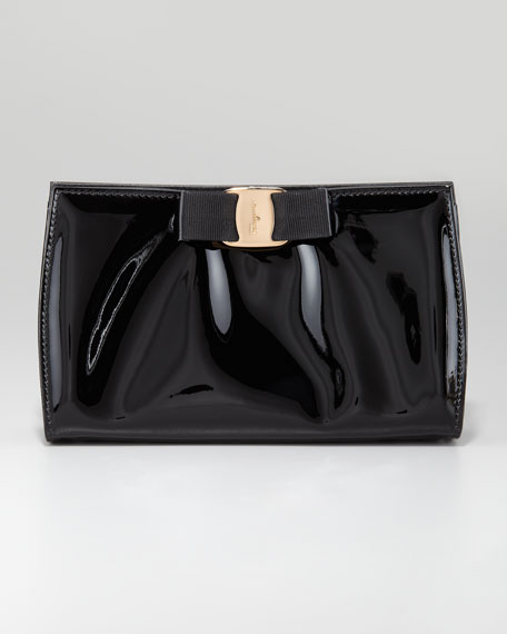 Miss Vara Patent Clutch Bag, Black