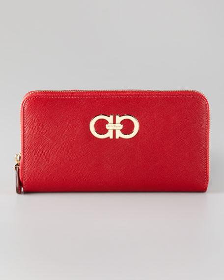 Gancini Icona Saffiano Zip Wallet, Red