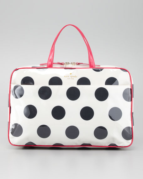 le pavillion manuela large polka-dot cosmetic case