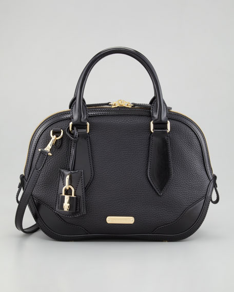 Small Leather Bowler Bag, Black