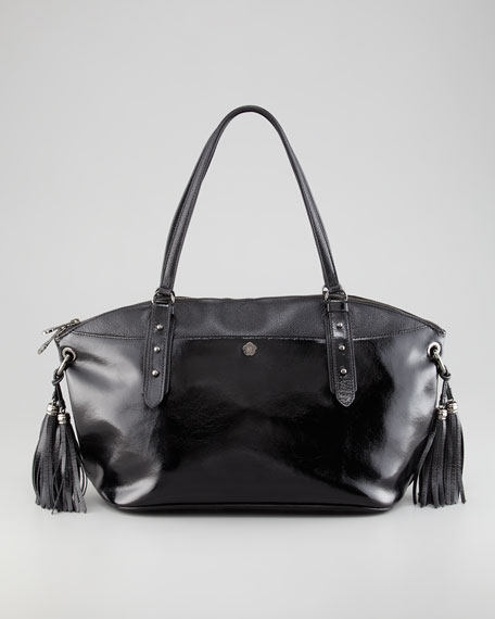 Bond Patent Tassel Satchel Bag