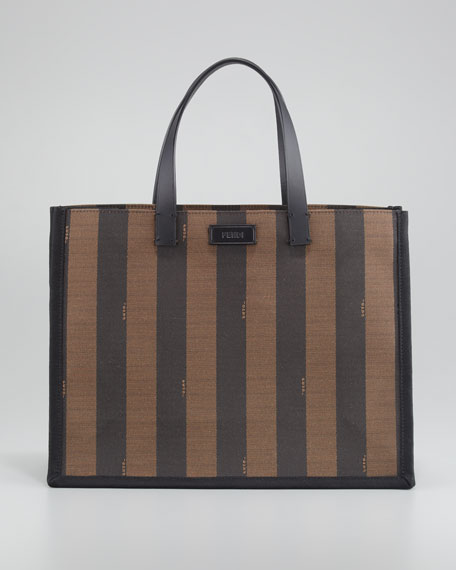 Pequin Small Shopping Tote Bag, Black/Tobacco