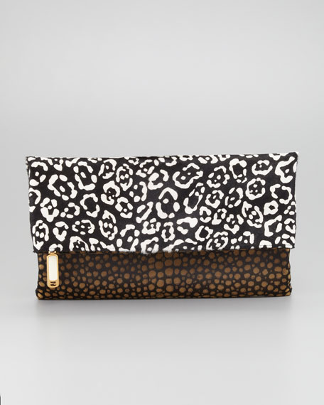 Chameleon Calf Hair Fold-Over Clutch Bag
