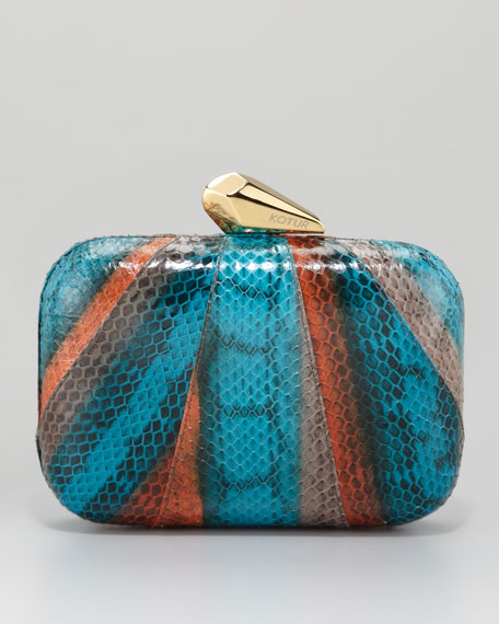 Morley Snakeskin Clutch Bag, Natural/Mahawi