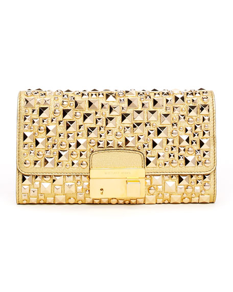 Gia Studded Metallic Leather Clutch Bag