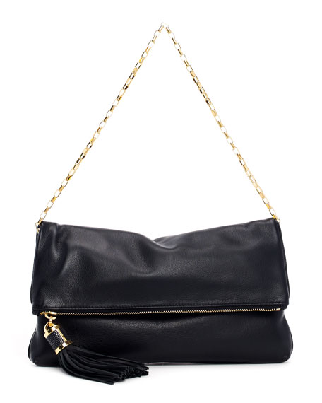 Large Tonne Pebbled Leather Fold-Over Clutch Bag