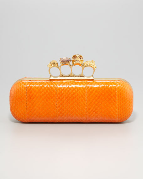 Knuckle-Duster Snakeskin Box Clutch Bag, Orange
