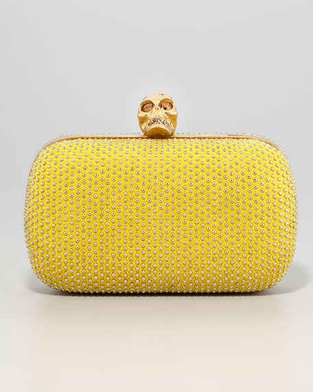 Studded Suede Skull-Clasp Clutch Bag
