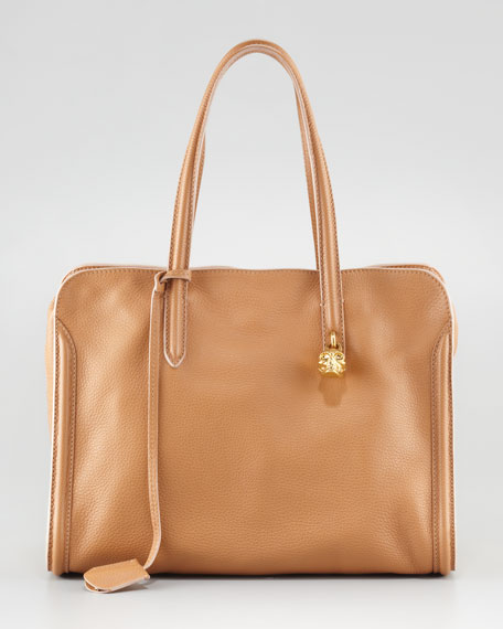 New Skull Padlock Zip-Around Tote Bag, Burnt Camel