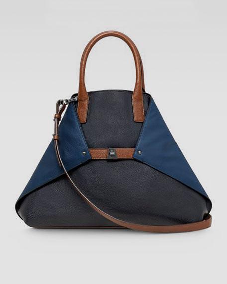 Ai Tricolor Cervo Medium Leather Messenger Bag, Denim/Pacific