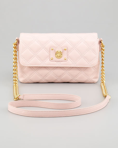 Single Quilted Large Crossbody Bag, Pale Pink