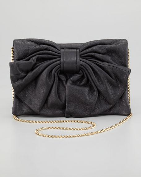 Bow Clutch Shoulder Bag, Black