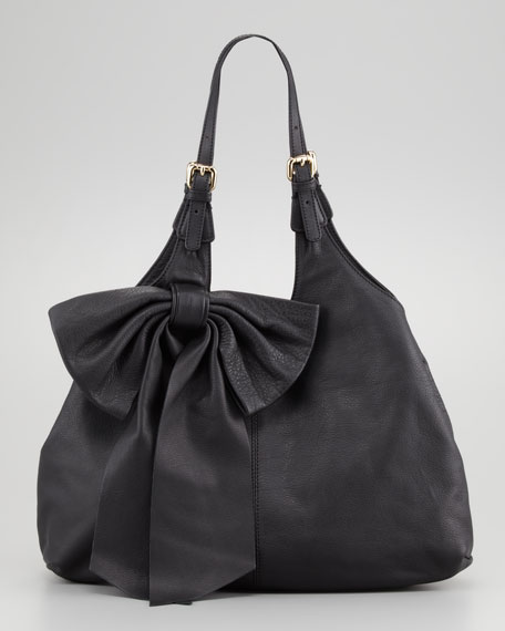 Large-Bow Hobo Bag, Black