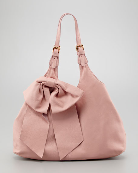 Large-Bow Hobo Bag, Cammeo